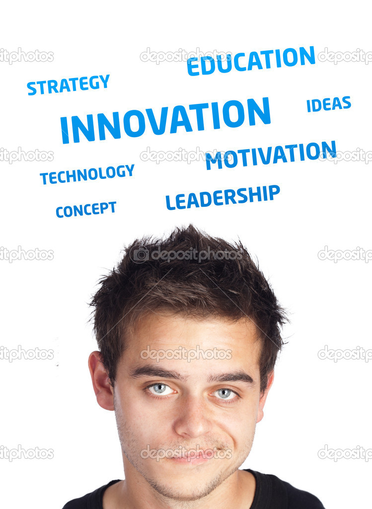 Young persons head looking at business icons and images — Stock Photo #6859695