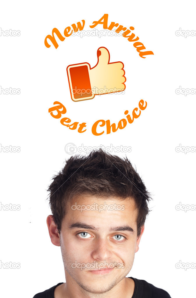 Young persons head looking with gesture at shipping and order signs — Stock Photo #6859722