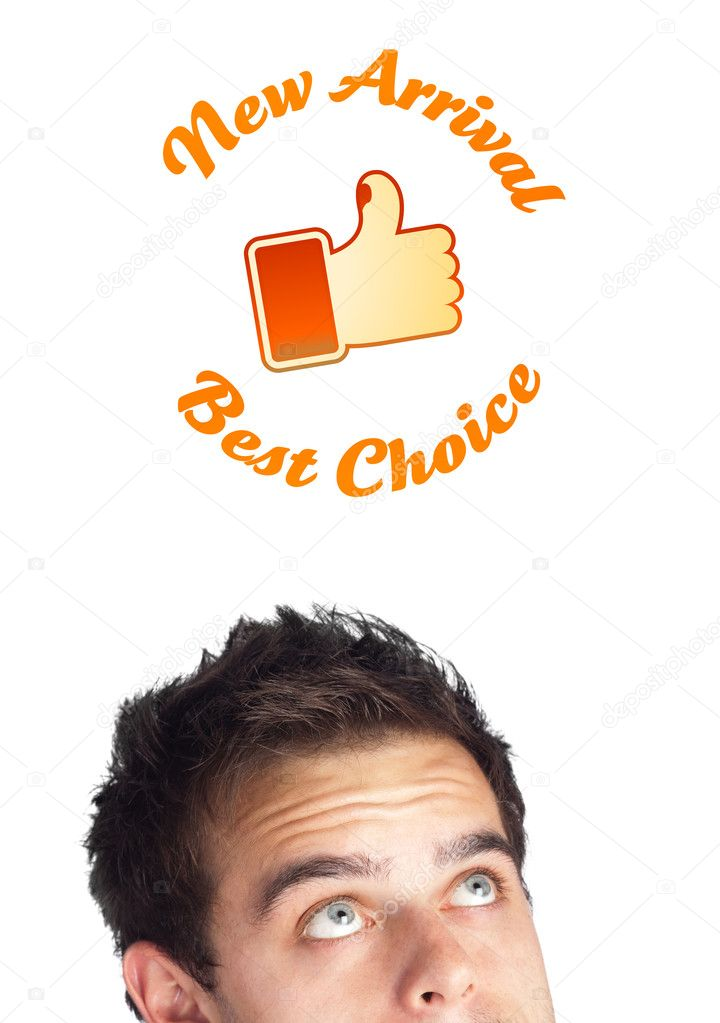 Young persons head looking with gesture at shipping and order signs  Stock Photo #6859938