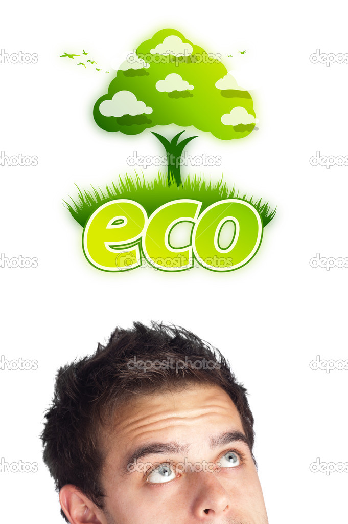 Young persons head looking at green eco sign  Stock Photo #6859952