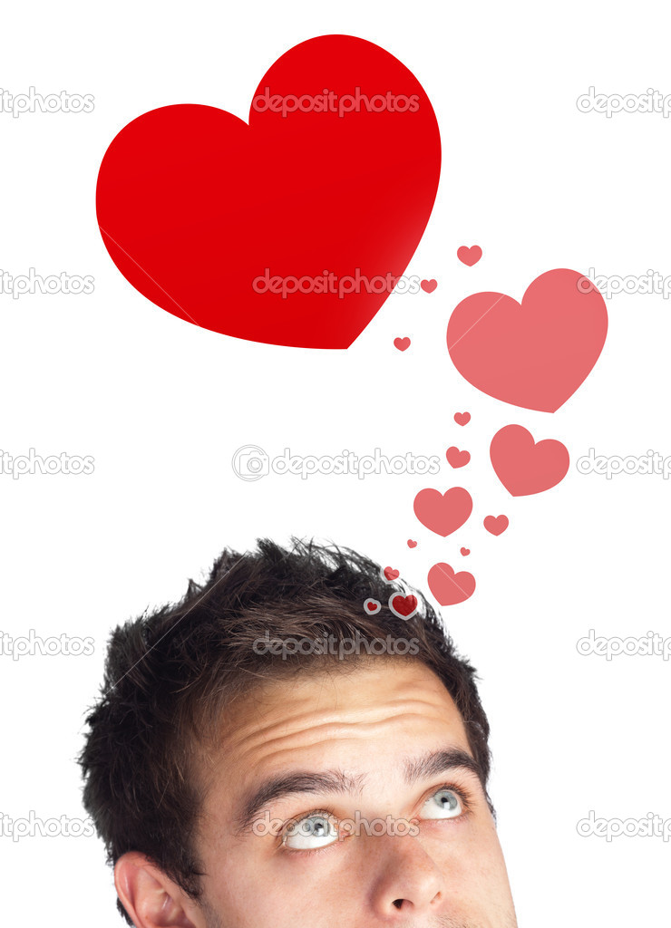 Young persons head looking with gesture at love signs — Stock Photo #6859978