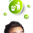 Young head looking at green eco sign — Stock Photo #6860049