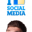 Young head looking at social type of icons and signs — Stock Photo #6860404