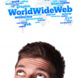 Young head looking at internet type of icons — Stock Photo #6860414