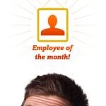 jonge hoofd kijken naar arbeid type pictogrammen — Stockfoto