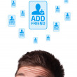 Young head looking at social type of icons and signs — Stock Photo #6860459