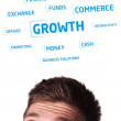 Young persons head looking at business icons and images — Foto de Stock