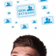 Young head looking at social type of icons and signs — Stock Photo #6860466