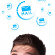 Young head looking at support contact type of icons and signs — Stock Photo #6860471