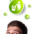 Young head looking at green eco sign — Stock Photo #6860659