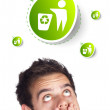 Young head looking at green eco sign — Stock Photo #6862529