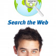 Young head looking at internet type of icons — Stock Photo #6862531