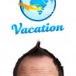 Young head looking at vacation type of sign — Stock Photo #6862557