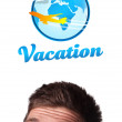 Young head looking at vacation type of sign — Stock Photo #6862602