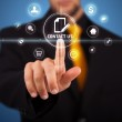 Businessman pressing virtual messaging type of icons — Stock Photo