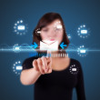 Businesswoman pressing virtual messaging type of icons — ストック写真