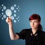 Businesswoman pressing high tech type of modern buttons — Stock Photo