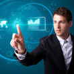 Businessman pressing high tech type of modern buttons — Stock Photo