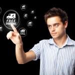 empresario presionando promoción virtual y tipo de icono de envío — Foto de Stock
