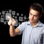 homme d'affaires en appuyant sur la haute technologie type de touches modernes — Photo