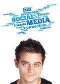 Jeune tête regardant de type social, des icônes et des signes — Photo