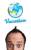 Unga huvud tittar på semester typ av tecken — Stockfoto