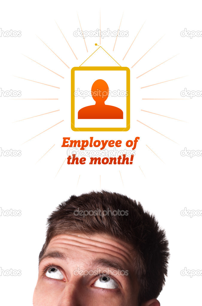 Young persons head looking with gesture at labor type of icons — Stock Photo #6860425