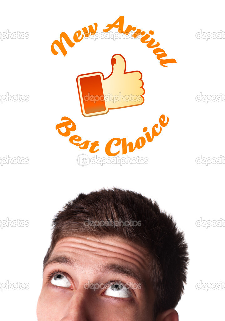 Young persons head looking with gesture at shipping and order signs — Stock Photo #6860440