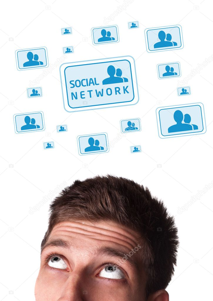 Young persons head looking with gesture at social type of icons and signs — Stock Photo #6860466
