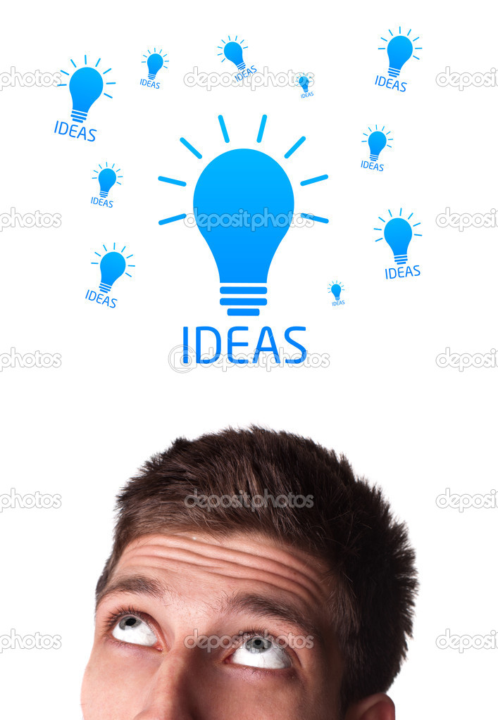 Young persons head looking with gesture at idea type of sign  Stock Photo #6860484
