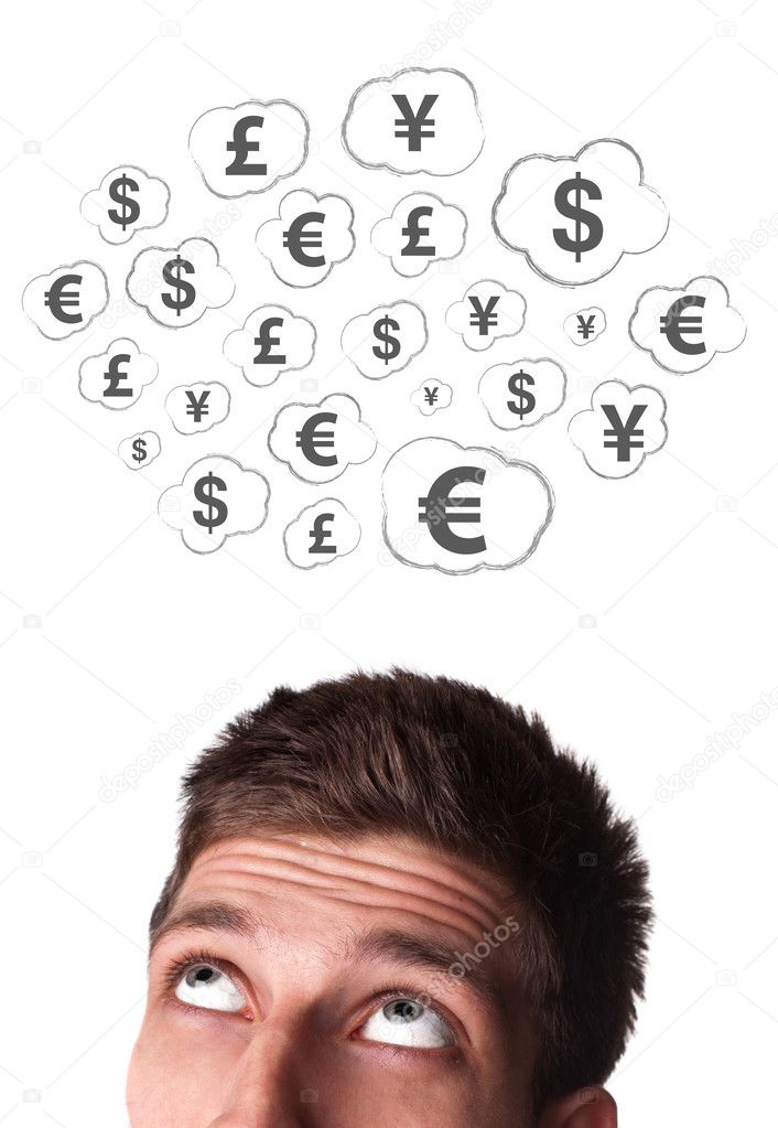 Young persons head looking at business icons and images  Stock Photo #6860492