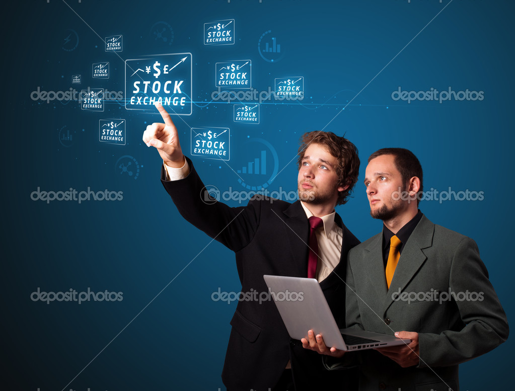 Businessman pressing business type of modern buttons with virtual background — Stock Photo #6860851