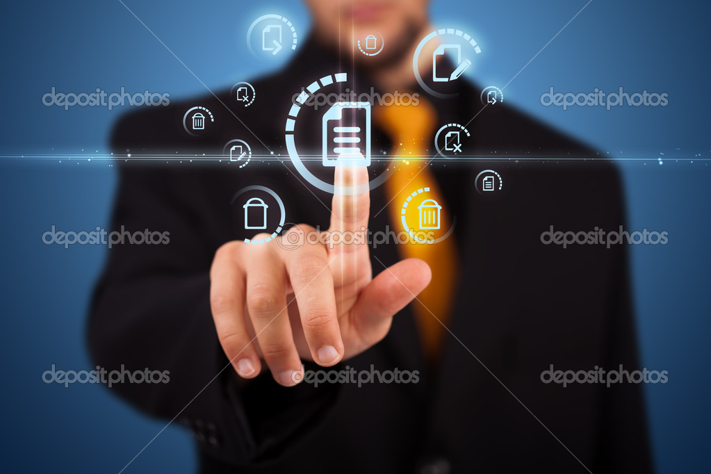 Businessman pressing messaging type of modern icons with virtual background — Stock Photo #6860864