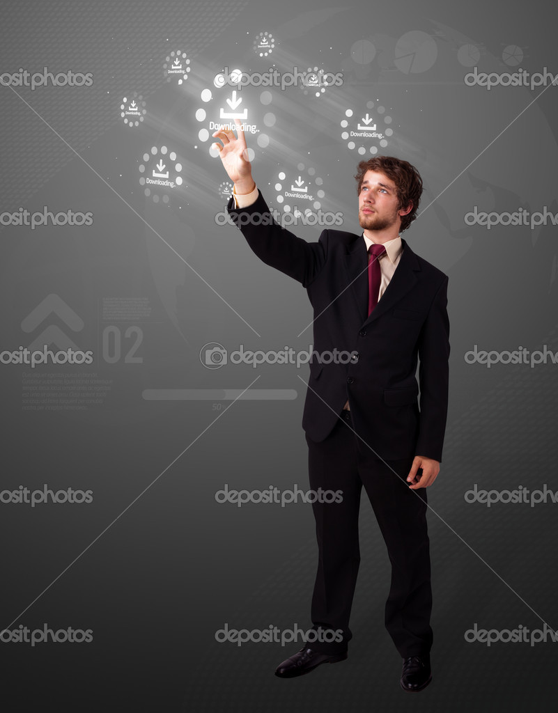 Businessman pressing simple start buttons on a virtual background — Stock Photo #6861131