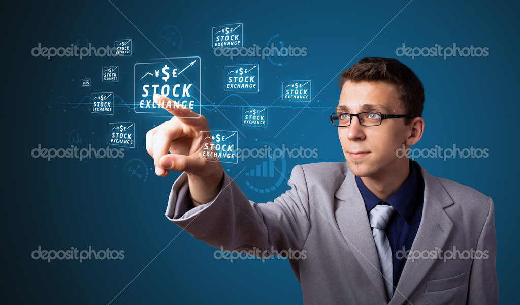 Businessman pressing business type of modern buttons with virtual background — Stock Photo #6861204
