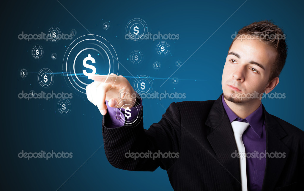 Businessman pressing business type of modern buttons with virtual background  Stock Photo #6861451