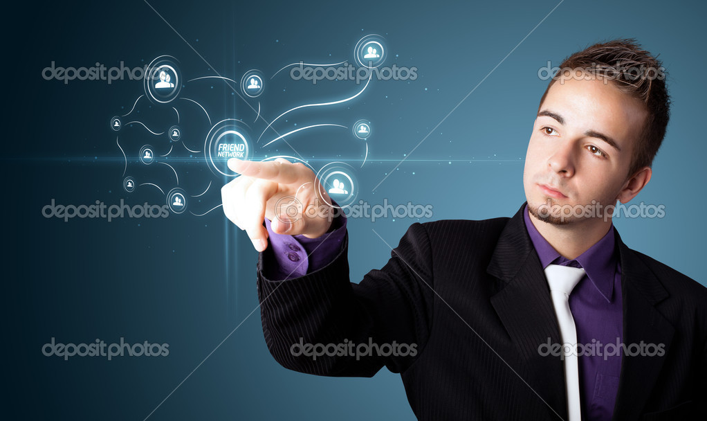 Businessman pressing modern social buttons on a virtual background — Stock Photo #6861491