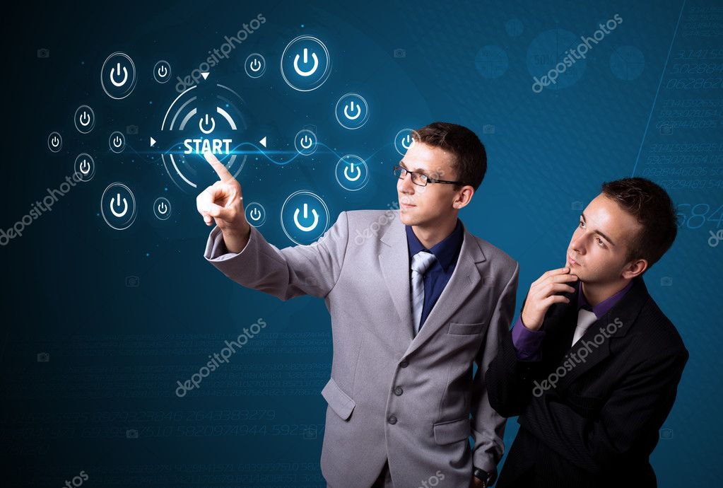 Businessman pressing simple start buttons on a virtual background — Stock Photo #6861556