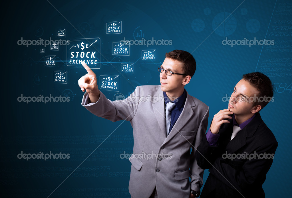 Businessman pressing business type of modern buttons with virtual background — Stock Photo #6861561