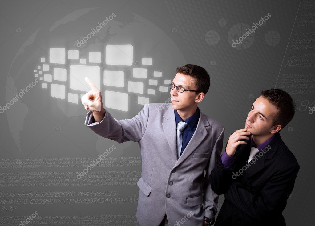 Businessman pressing high tech type of modern buttons on a virtual background — Stock Photo #6861565