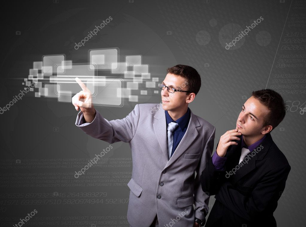 Businessman pressing high tech type of modern buttons on a virtual background — Stock Photo #6861568