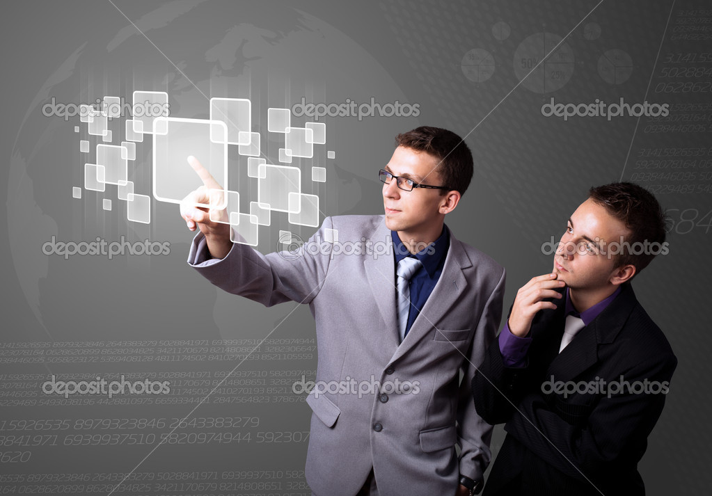 Businessman pressing high tech type of modern buttons on a virtual background — Stock Photo #6861588