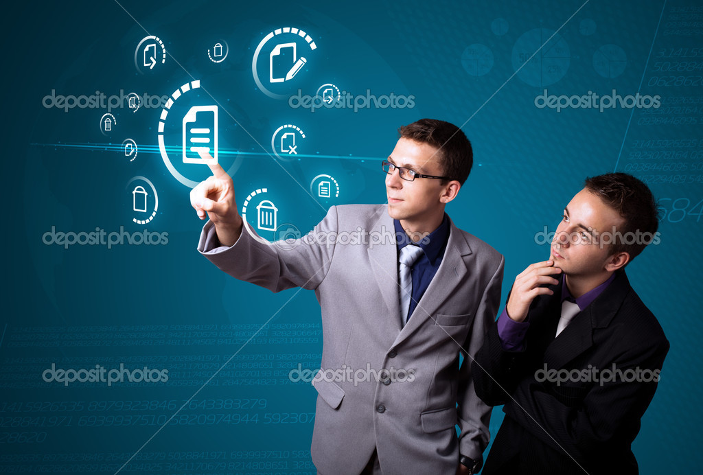 Businessman pressing messaging type of modern icons with virtual background — Stock Photo #6861626