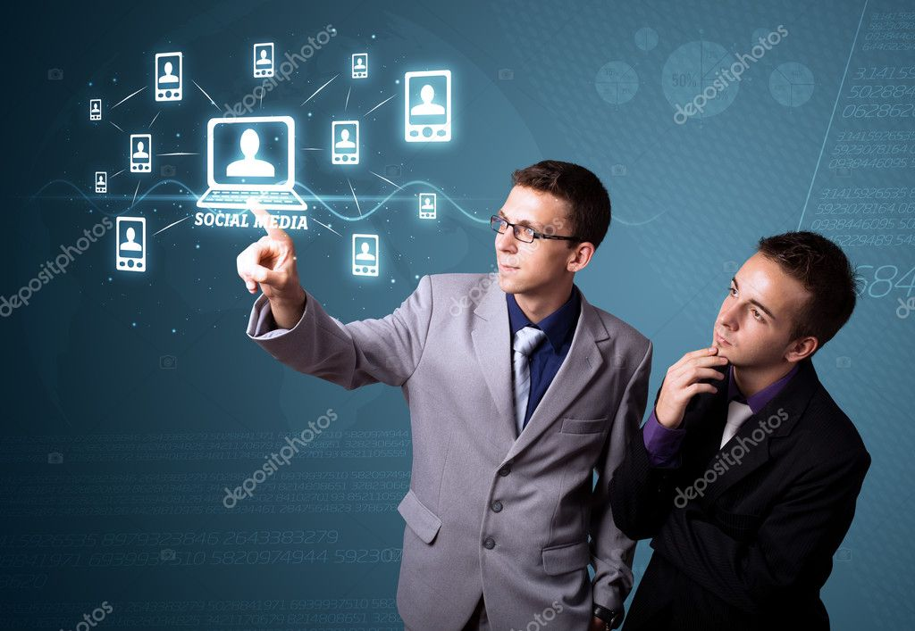 Businessman pressing modern social buttons on a virtual background — Stock Photo #6861687