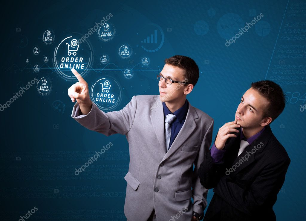 Businessman pressing promotion and shipping type of modern buttons — Stock Photo #6861698