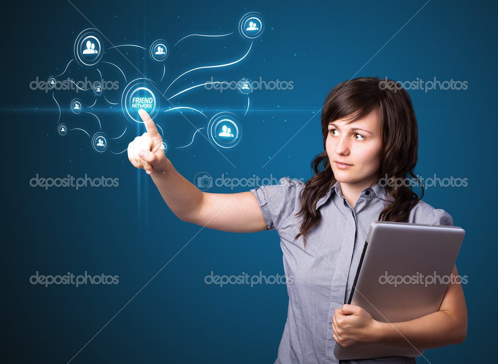 Businesswoman pressing modern social buttons on a virtual background — Stock Photo #6861816
