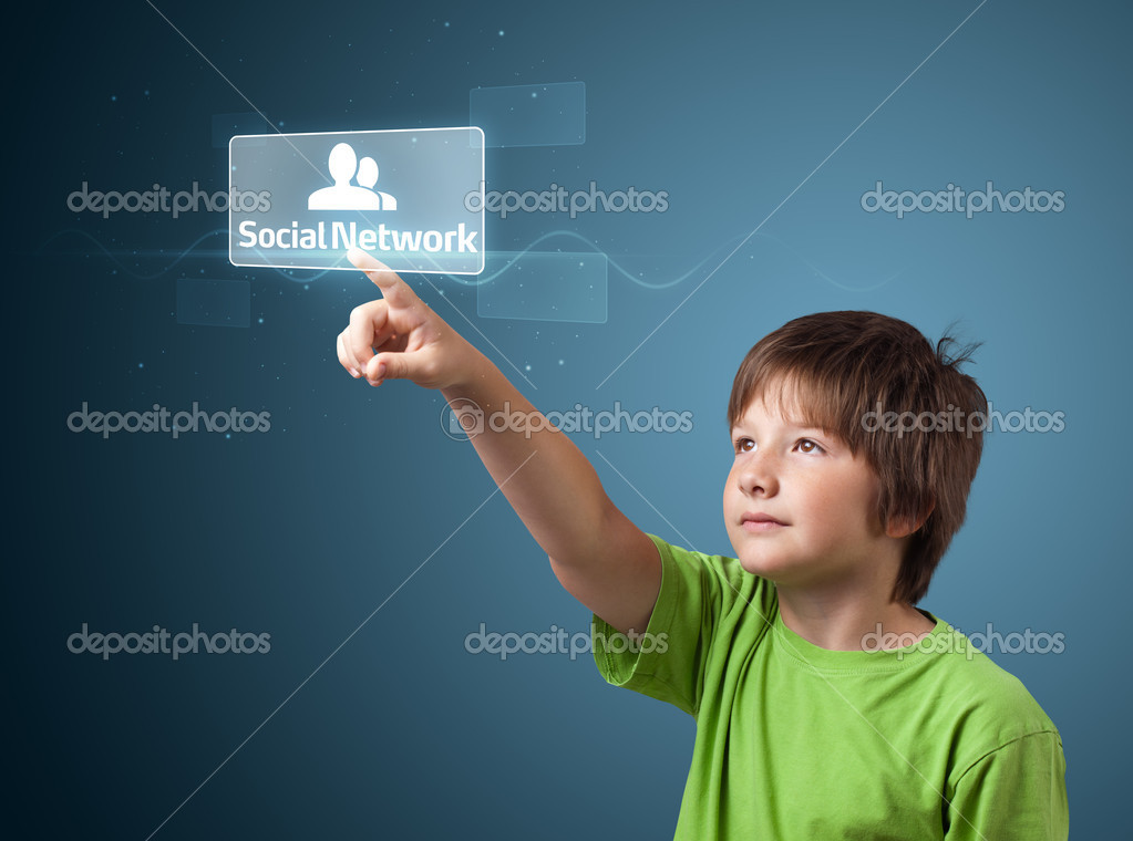 Businessman pressing modern social buttons on a virtual background  Stock Photo #6861988