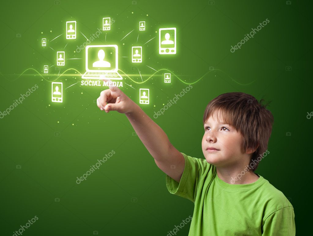 Businessman pressing modern social buttons on a virtual background — Stock Photo #6861992
