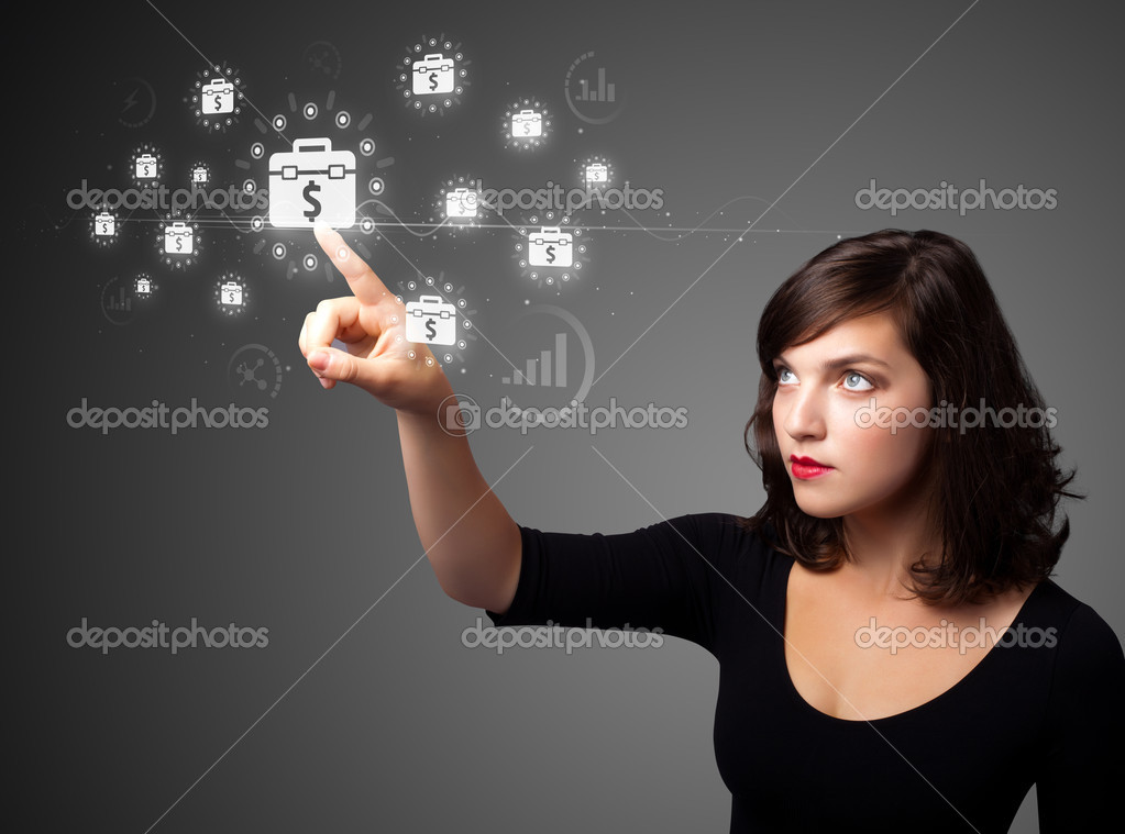 Businesswoman pressing business type of modern buttons with virtual background  Stock Photo #6862021