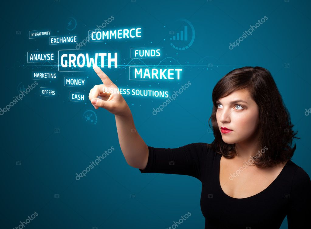 Businesswoman pressing business type of modern buttons with virtual background — Stock Photo #6862023
